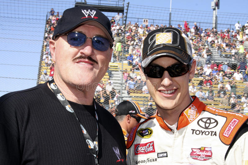 NASCAR's Joey Logano and WWE's Sgt. Slaughter royalty free stock photo