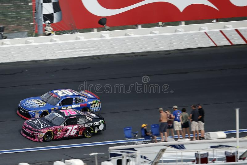 NASCAR: September 29 Drive for the Cure 200. September 29, 2018 - Concord, North Carolina, USA: Spencer Boyd 76 races through the field off turn 14 at the Drive royalty free stock photography