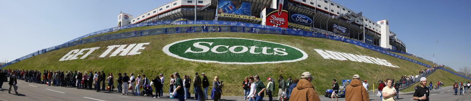 NASCAR Sprint Cup Series Food City 500. 22 March 2009 NASCAR Food City 500 Bristol, TN - The Scotts Advantage Logo at the Bristol Motor Speedway for the running stock image
