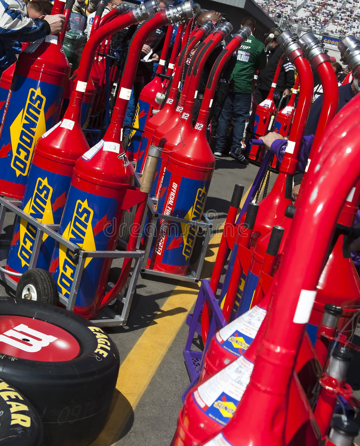 NASCAR Sprint Cup Series Food City 500. 22 March 2009 NASCAR Food City 500 Bristol, TN - Sunoco fuel cans wait to be filled at the Bristol Motor Speedway before stock photography