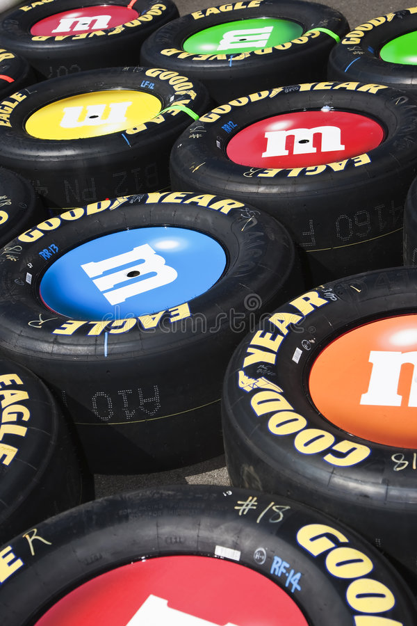 NASCAR Sprint Cup Series Food City 500. 22 March 2009 NASCAR Food City 500 Bristol, TN - Tires from the M&M Team at the Bristol Motor Speedway for the runing of stock image