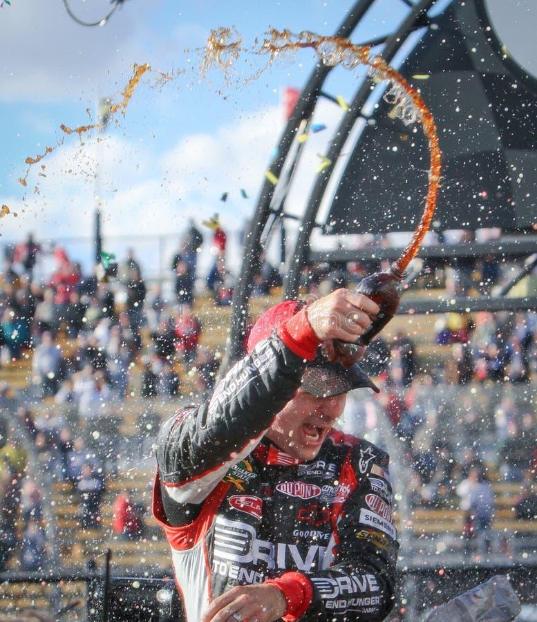 NASCAR Treiber Jeff Gordon, das Gewinn feiert stockfotografie