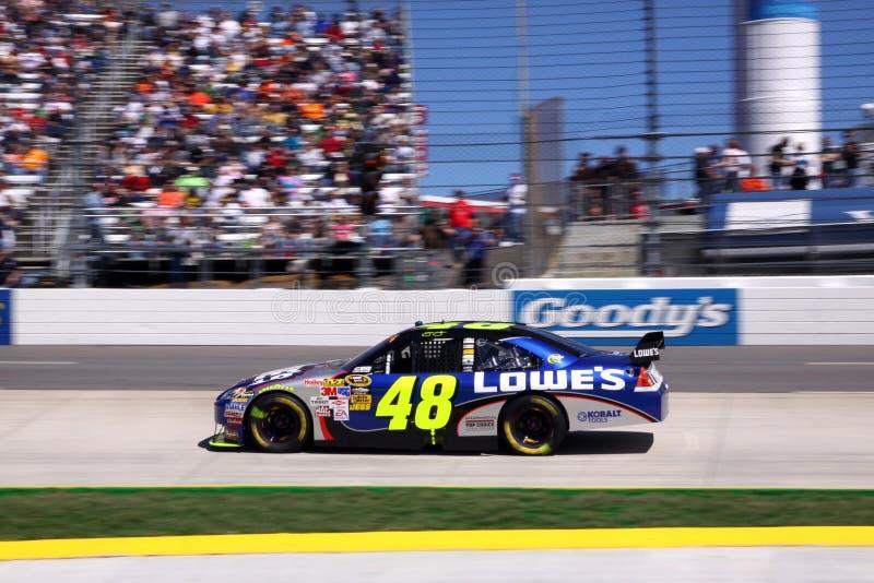 NASCAR - vencedor 2009 do presente 500 Jimmie Johnson foto de stock
