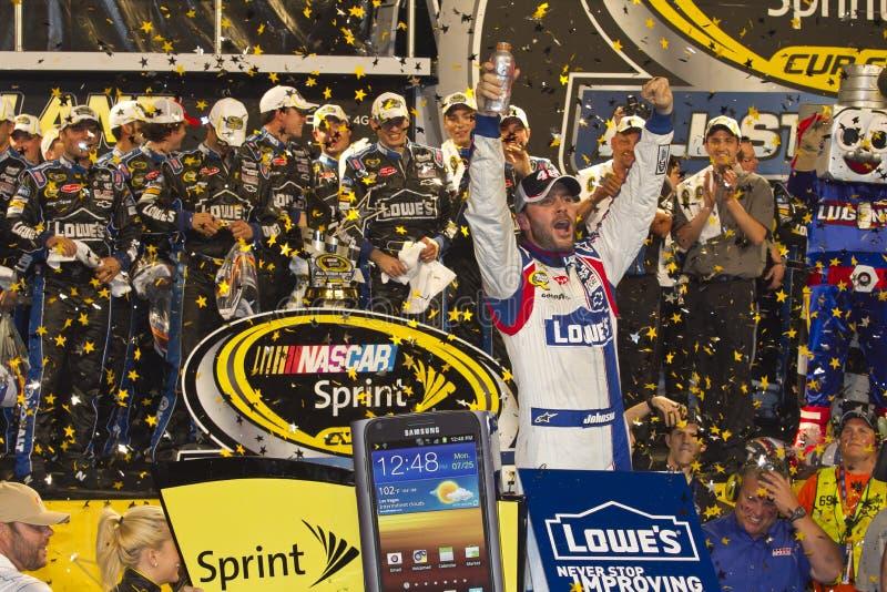 NASCAR: Vicolo di vittoria del Jimmie Johnson fotografia stock