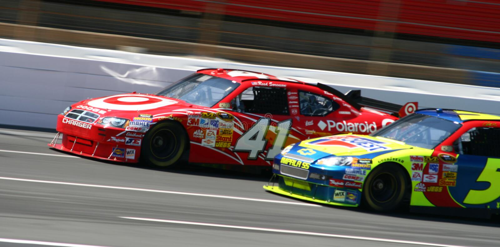 NASCAR - Wheel to Wheel Racing!. Reed Soreson's #41 Target Dodge Car of Tomorrow edges ahead of Casey Mears' #5 Chevy COT during practice for the 2008 NASCAR