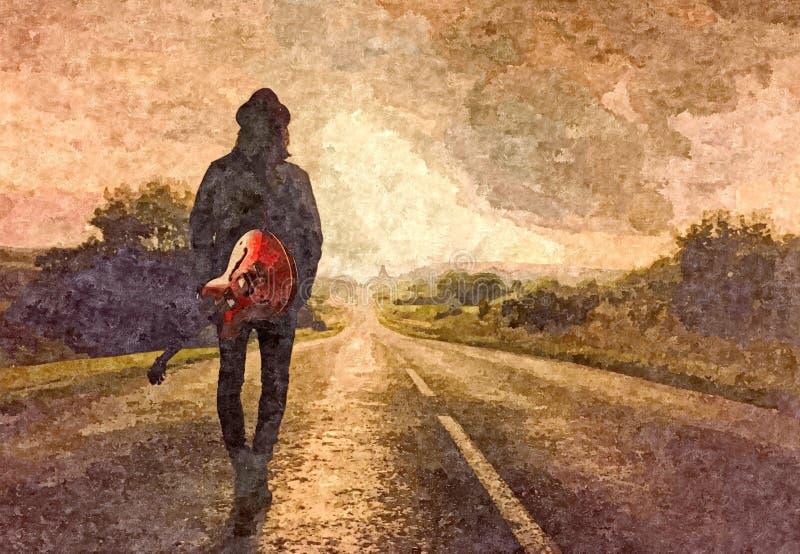 NASCER DE O SOL Aquarela molhada de Painting do guitarrista no papel Arte ingénua Aquarela do desenho no papel ilustração royalty free