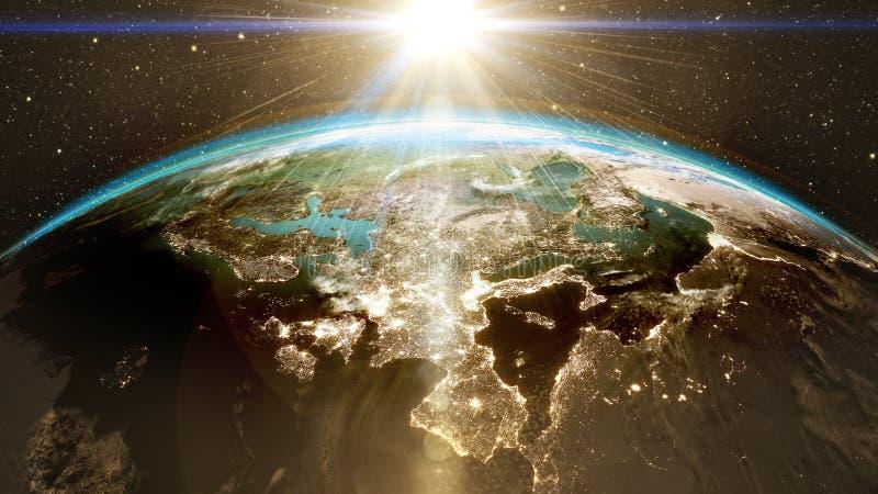 Nascer do sol épico sobre a skyline do mundo fotografia de stock royalty free