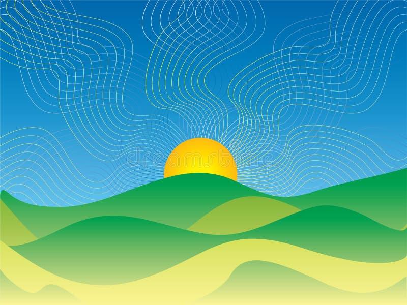 Nascer do sol abstrato do país ilustração royalty free
