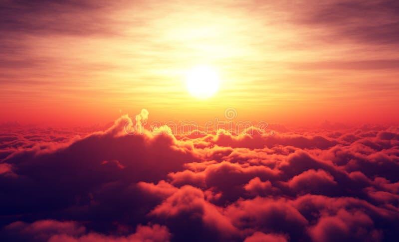 Nascer do sol acima das nuvens ilustração do vetor