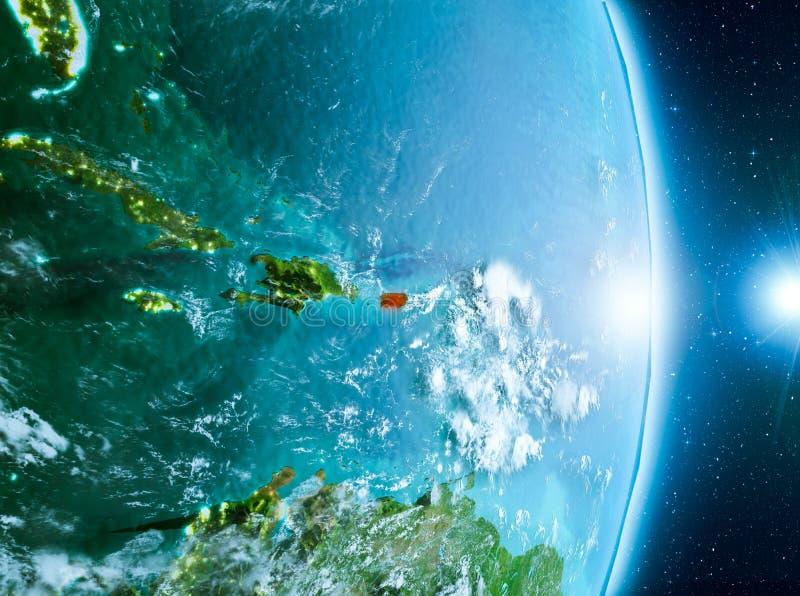 Nascer do sol acima de Porto Rico na terra do planeta ilustração stock