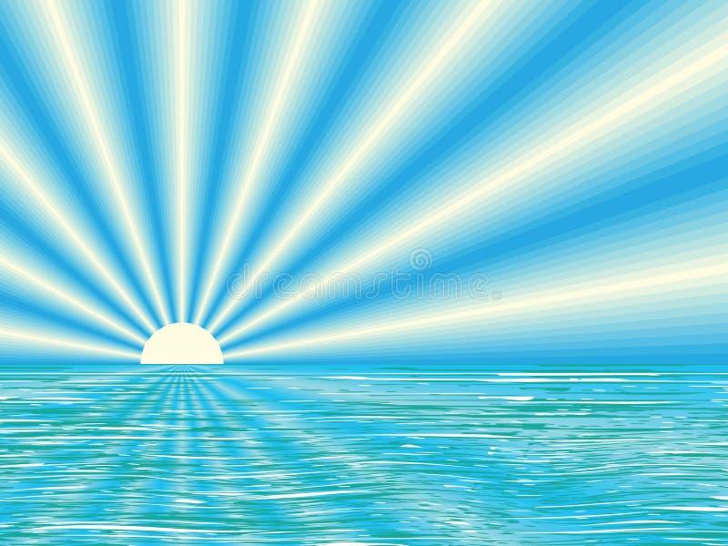 Nascer do sol acima do mar calmo ilustração do vetor