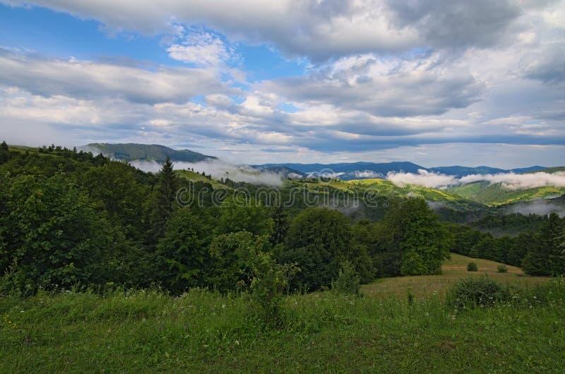Nascer do sol acima dos picos da montanha fumarento com a vista da floresta no primeiro plano Céu nublado dramático Passagem de S imagens de stock