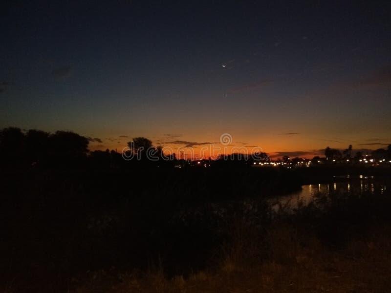 Nascer do sol alaranjado em Santa Cruz foto de stock royalty free