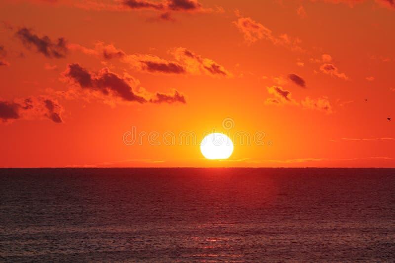 Nascer do sol alaranjado sobre o oceano com alargamentos do sol fotografia de stock royalty free