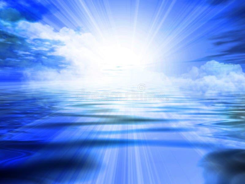Nascer do sol azul ilustração royalty free
