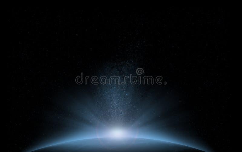 Nascer do sol azul do espaço do planeta
