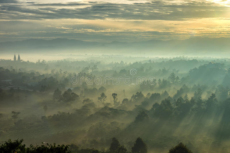 Nascer do sol bonito com névoa e luz solar na montanha da floresta foto de stock royalty free