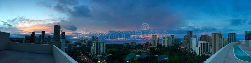 Nascer do sol bonito de Waikiki fotografia de stock
