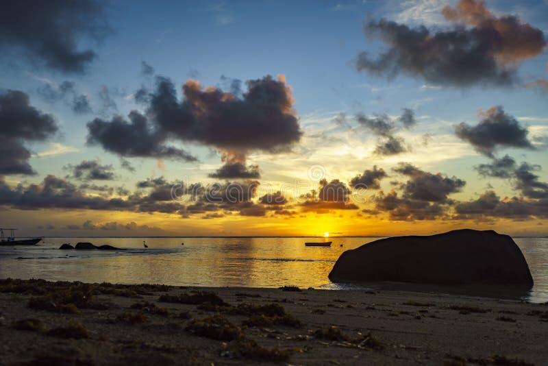 Nascer do sol bonito na praia do paraíso, seychelles 1 fotos de stock