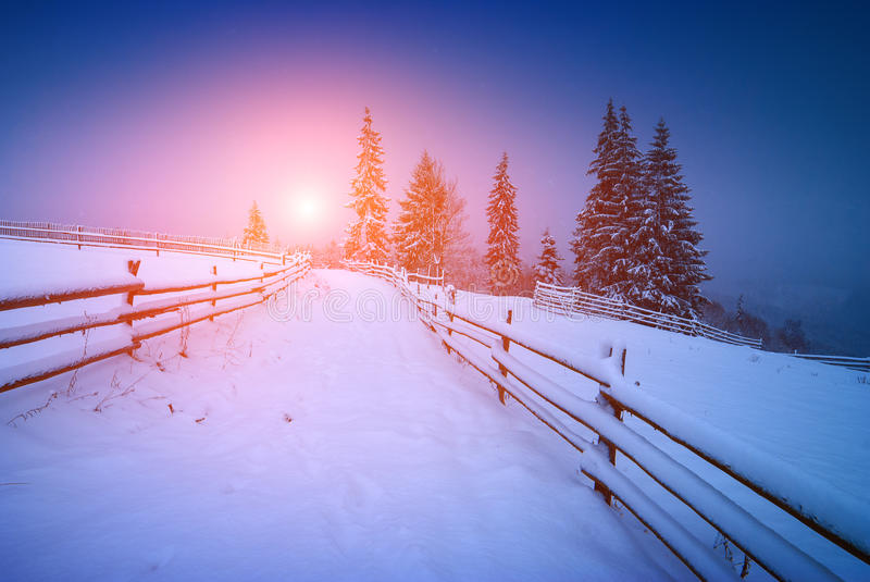 Nascer do sol brilhante majestoso em um vale fotografia de stock