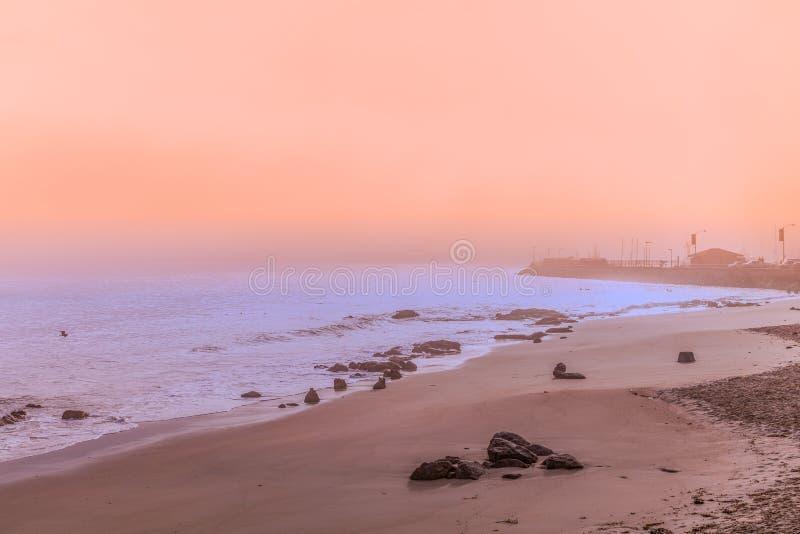 Nascer do sol cênico da baía de Monterey fotografia de stock