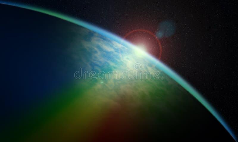 Nascer do sol cósmico ilustração stock