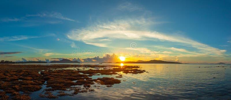 nascer do sol do cenário acima do recife de corais O recife de corais emerge da água a nível reduzido da água foto de stock royalty free