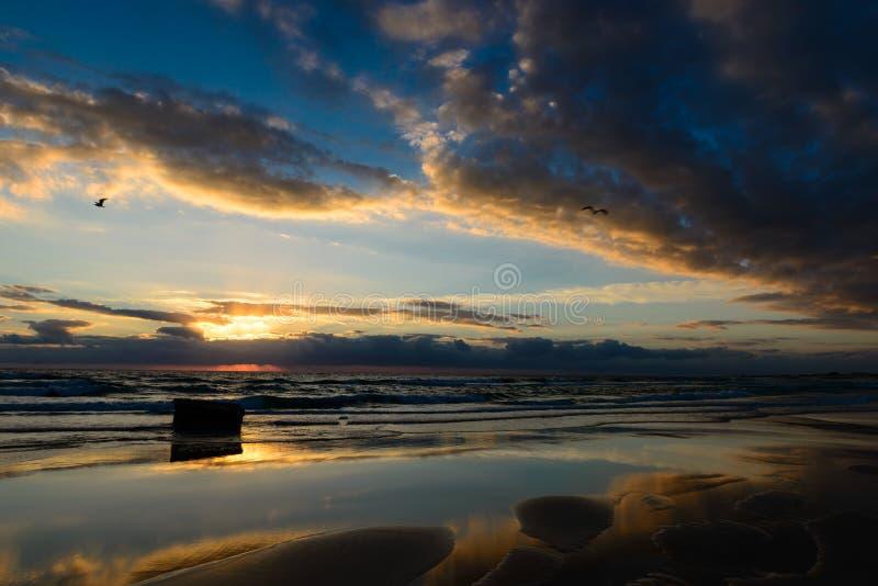 nascer do sol com reflexão da nuvem na costa de Fuerteventura fotografia de stock