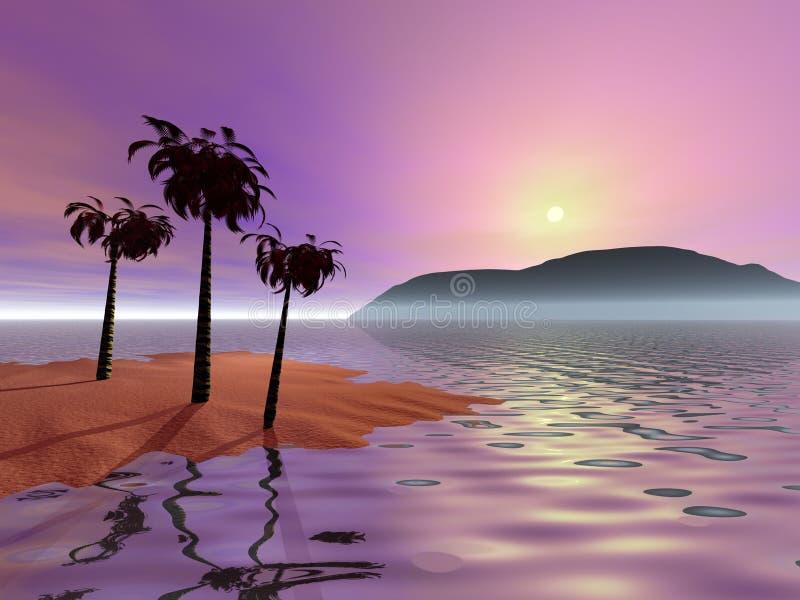 Nascer do sol cor-de-rosa com palmeiras ilustração do vetor