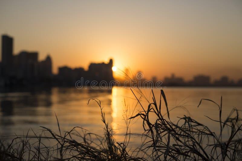 Nascer do sol da cidade de Durban fotografia de stock