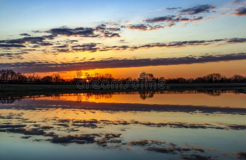 Nascer do sol da manhã da lagoa do país no Midwest fotografia de stock