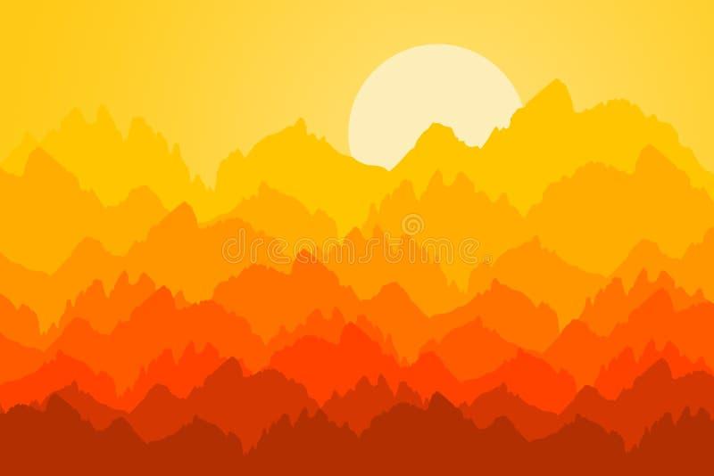 Nascer do sol da montanha ilustração royalty free