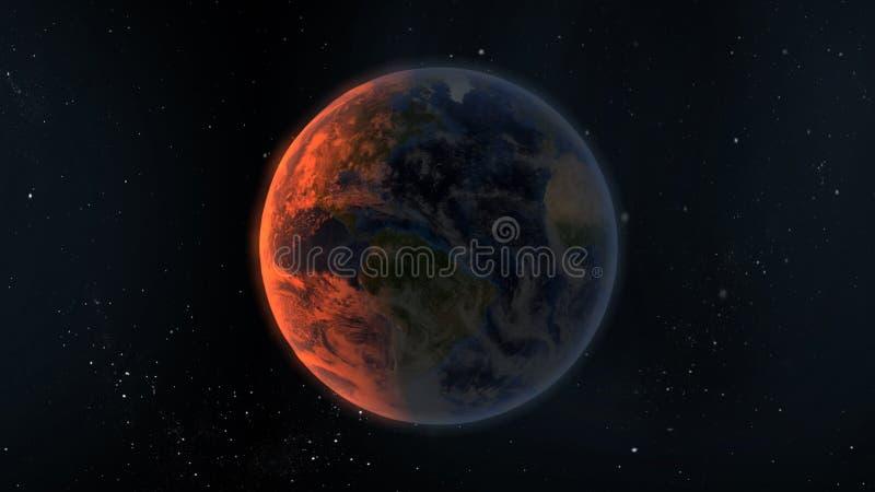 Nascer do sol da terra do planeta ilustração royalty free