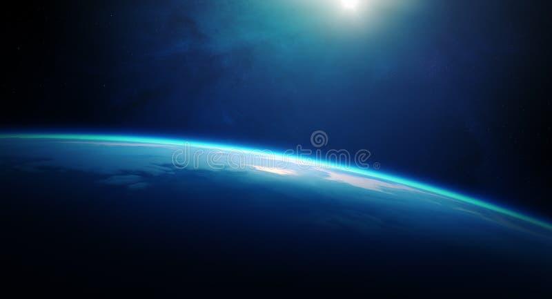 Nascer do sol da terra do planeta do espaço ilustração royalty free