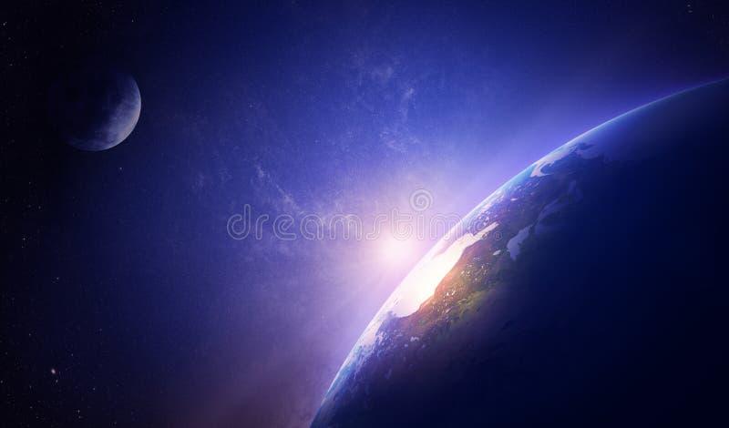 Nascer do sol da terra no espaço nevoento sobre America do Norte ilustração royalty free