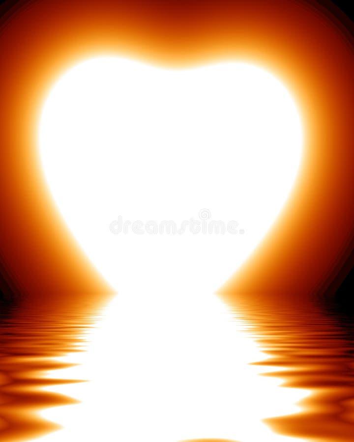 Nascer do sol dado forma coração ilustração royalty free