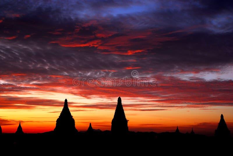 Nascer do sol de Bagan imagem de stock royalty free