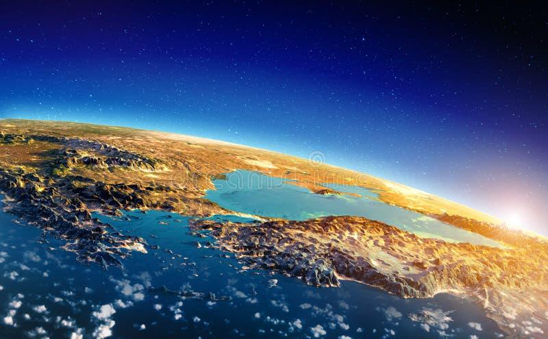 Nascer do sol de Grécia e de Turquia ilustração royalty free