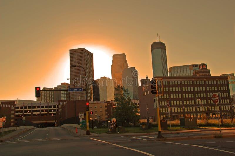 Nascer do sol de Minneapolis imagens de stock