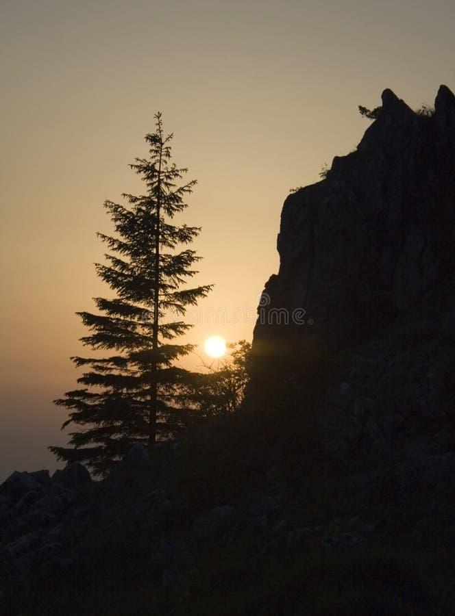 Nascer do sol de Mounatin fotografia de stock