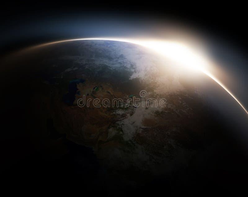 Nascer do sol do espaço ilustração royalty free