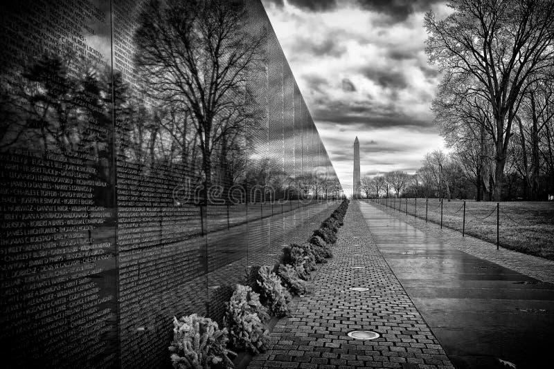 Nascer do sol do memorial de guerra do vietname, Washington, C.C., EUA fotografia de stock royalty free