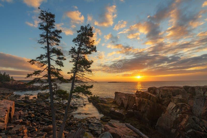 Nascer do sol do parque nacional do Acadia imagens de stock royalty free
