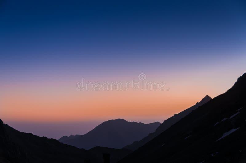 Nascer do sol do refúgio du Toubkal imagem de stock