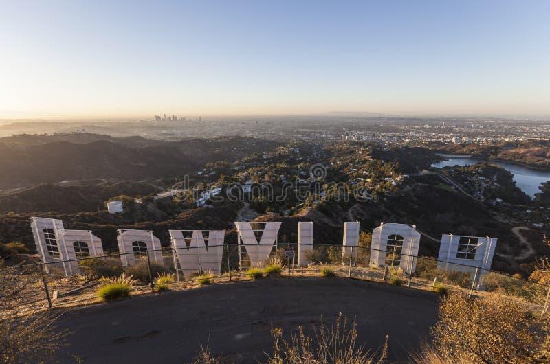 Nascer do sol do sinal de Hollywood imagens de stock royalty free