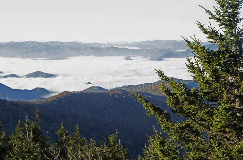 Nascer do sol e névoa no parque nacional de Great Smoky Mountains na queda fotos de stock royalty free