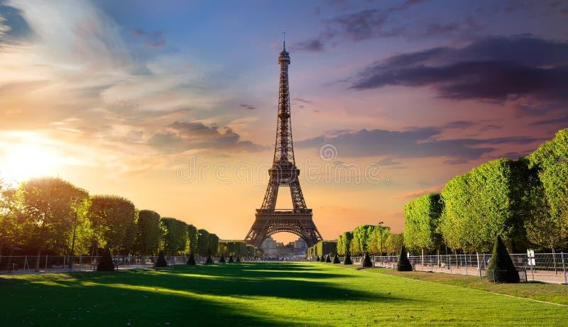 Nascer do sol e torre Eiffel foto de stock royalty free