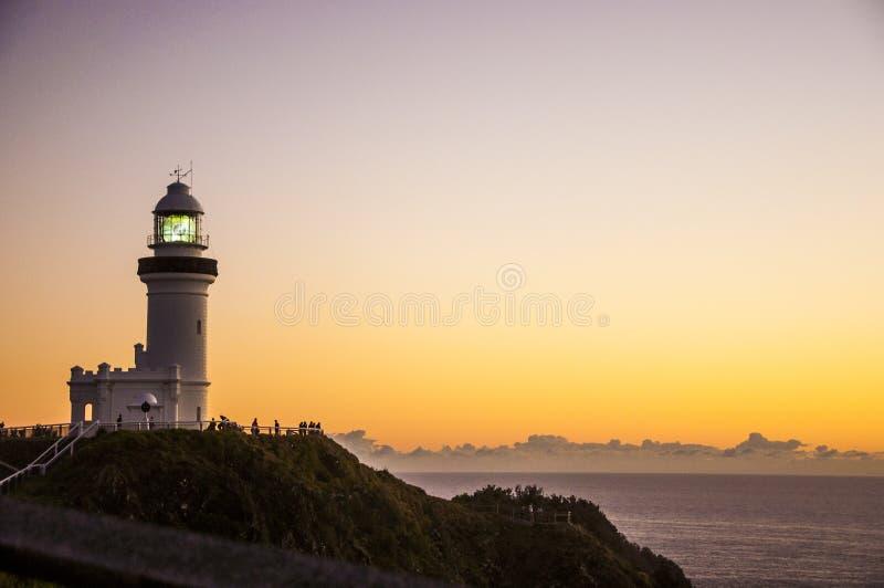 Nascer do sol em Byron Bay Lighthouse fotografia de stock royalty free