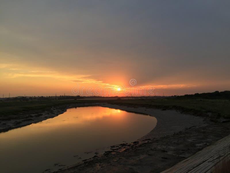 Nascer do sol em dos Reis de Angra fotografia de stock royalty free
