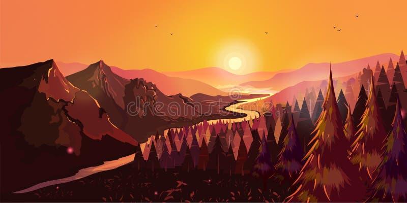 Nascer do sol em montanhas bonitas com ilustração do vetor do rio e da floresta para seu projeto ilustração royalty free